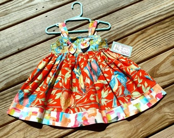 Girls Bird Dress - Orange Dress - Birds - Birthday Dress - Knot Dress -  Groovy Gurlz