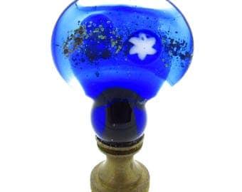 Venetian Glass Lamp Finial - Cobalt Blue,, Planet Designs - Antique Brass Hardware- Lampwork Glass. Light shines through when lamp is on!