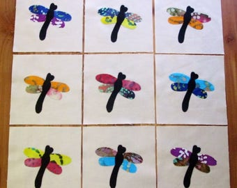 "Set of 9   Colorful Batik Fabric Dragonfly   6"" x 6""  Cotton Quilt Blocks"
