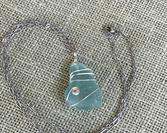 Awesome Aqua Sea Glass Necklace