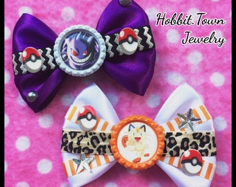 Pokemon Meowth Gengar Halloween Cat Gamer Hair Bows