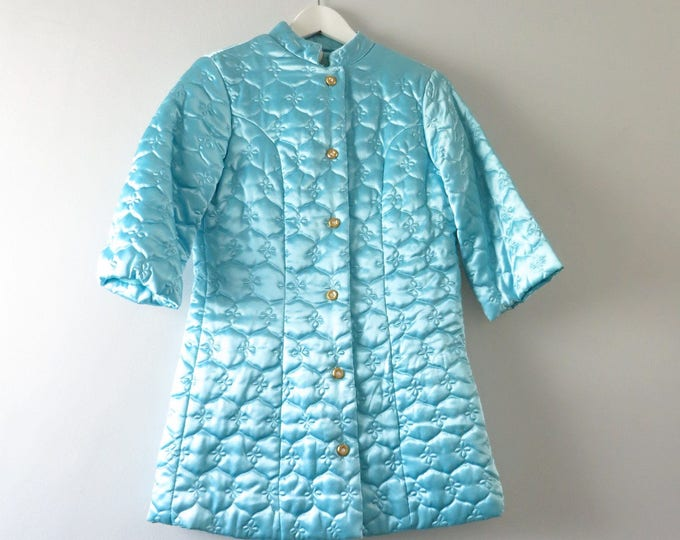 Vintage Satin Bed Jacket | 1960s Turquoise Quilted Satin Asian Bed Jacket S Deadstock