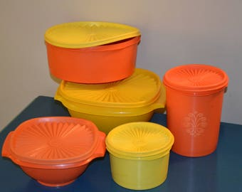 Vintage 5 Pieces of Tupperware, Orange and Yellow, Containers, Sunburst Lids