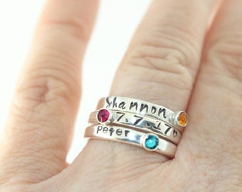 Stacking Ring - Size 9 Ring - Birthstone Ring - Sterling Silver Ring - Stackable Band - Gemstone Stacking Ring - Birth Stone Ring