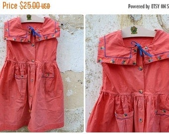 ON SALE Vintage 1950/1960 red poppies girl dress  size 8/10 years