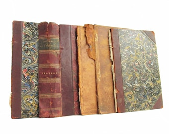 Collection of antique leather bound book boards / covers, 10 pieces, approx. 5x8 - Free US Shipping