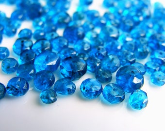 Apatite Faceted Rondelles, Faceted Blue Apatite Rondelles, Faceted Ocean Blue Apatite, 2.5-5mm, (100), destash, 10% off use code SAVE10