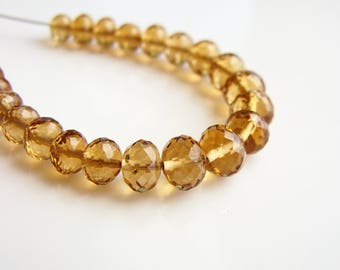 Beer Quartz Microfaceted Rondelles, Faceted Beer Quartz Rondelles, Faceted Quartz Rondelles, 4-5mm, (25), destash, 10% off use code SAVE10
