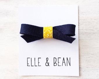 Navy & Sunshine Glitter Lilly Bow- RTS Felt and Glitter School Girl Bow. Clip or Headband.