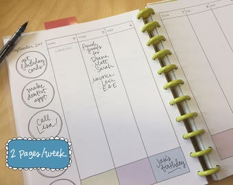 Printable Planner Pages, Weekly, 2017-2018 School Year, Handwritten