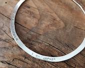 """Bangle Bracelet """"I AM ENOUGH"""" Stamped Design Handmade Fine Silver"""