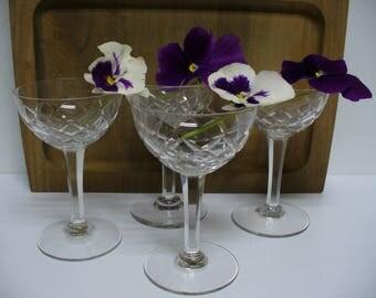 4 Vintage Crystal Cordial Glasses