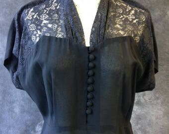 S a l e 50's black rayon dress with lace shoulders. Large, Extra Large.