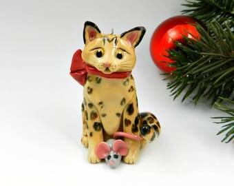 Bengal Cat Christmas Ornament Figurine Mouse Toy Porcelain