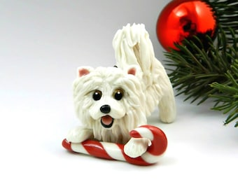 Samoyed Dog Christmas Ornament Figurine with Candy Cane Porcelain