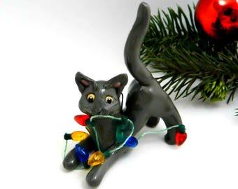 Russian Blue Cat Christmas Ornament Figurine Lights Porcelain