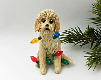 Golden Doodle Labra Doodle PORCELAIN Christmas Ornament Figurine Lights Ooak