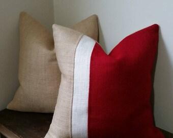 Christmas Pillow - Burlap Pillow Cover - Over 50 Premium burlap colors!