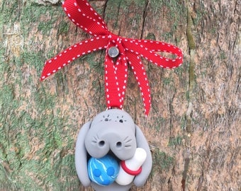 Manatee with Bowling Ball and Pin Ornament
