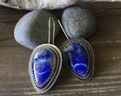 Lapis oxidized silversmith earrings