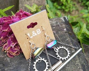 Steam punk quartz earrings