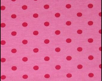Pink princess dots cotton lycra knit 1 yard