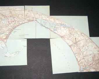 Vintage  (1944) Massachusetts City Maps  - Provincetown and North Truro, MA - in 9 Sections - Great for Crafting