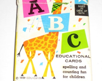Vintage (1959) ABC Alphabet Flash Cards - Playing Card Size - for Altered Art, Collage, etc.