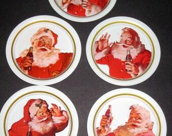 5 Vintage (1983) Tin Coca Cola Santa Claus Coasters