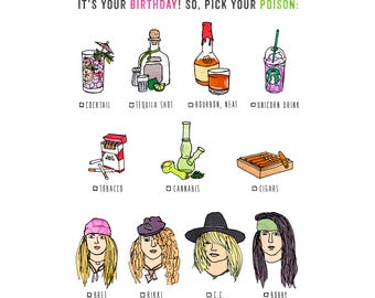 Pick Your Poison - humorous, whimsical, birthday, party, funny