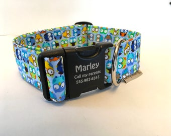 """Personalized Dog Collar Extra Wide 1.5"""" Sky Blue Owls Boy Collar Cute Colorful Pattern  What A Hoot Made In USA"""