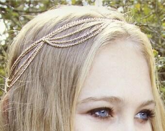 SUMMER SALE CHAIN Headpiece- chain headdress head chain coachella festival jewelry accessories