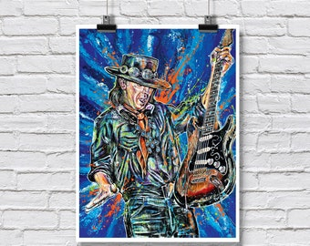 "Art Print  Poster 18 x 24"" - Stevie Ray Vaughan - Blues guitar legend music rock and roll"