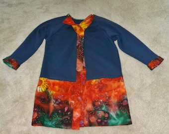 "Wrap Jacket, Coat, Small/Medium, Navy Blue with Bright Colors, Cottage Wear, Long Jacket, Handmade OAK, 37"" long"