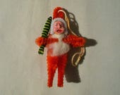 1950s Japan Red Clay Faced Chenille Santa Claus With Tree Christmas Feather Tree Ornament Antique Christmas Decoration