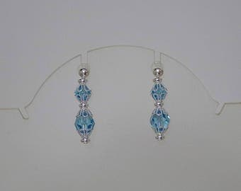 Convertible Earrings - Sterling Silver and Swarovski Crystal Earrings -  Available in All Swarovski Crystals Colors - Shown in Lt Turquoise