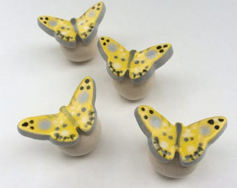 Yellow Butterfly, Knob Drawer Pull, Butterfly Knobs, Yellow Knob, Knobs Pulls Handles, Kitchen Cabinet Knob, Dresser Drawer Knobs, Furniture