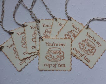 Tea party favor tags, you're my cup of tea, hand stamped, vintage style, bridal or baby shower tea tags, scalloped - set of 8