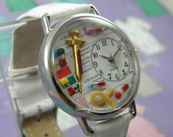 Phlebotomy Phlebotomists Watch with Syringe Tiny Vials and Tourniquet