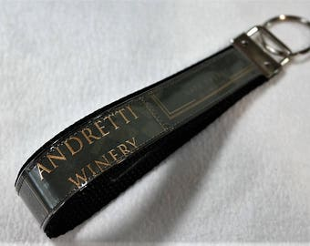 Wristlet KeyChain from Recycled Andretti Winery Wine Label
