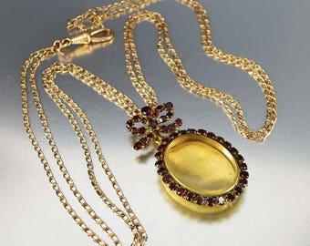 Antique Garnet Shaker Locket Necklace | Edwardian Garnet Necklace Long Rose Gold Watch Chain | Vintage Garnet Pendant w Bow Photo Keepsake
