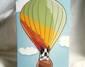 Boston Terrier Hot Air Balloon Greeting Card