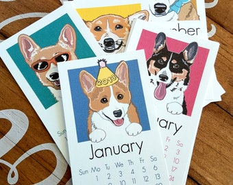 2018 Corgi Calendar - Printed on Recycled Linen Paper