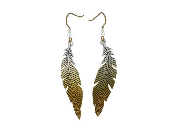 Large Curved Feather Titanium Earrings, 100% Hypoallergenic, Sensitive ear