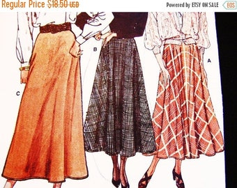 on SALE 25% Off Vintage Flared Skirt Pattern Misses size 14 16 18 Vogue Pattern Maxi Skirt Sewing Pattern Easy to Sew