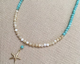 Starfish Necklace Semiprecious Gemstones Amazonite Necklace Natural Shell Pendant Necklace 14K Gold Filled Beaded Beach Necklace Aqua Beige