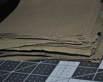 50 Square Pack Khaki Twill 5 inch Scraps Stash Builder Quilting