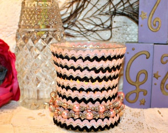 Embellished Hourglass Soy Wax Candle,YOUR SCENT CHOICE,Homemade,Hand Poured,Gift Candle,Vintage Rick Rack,Hand Made Necklace,Jewelry Candle