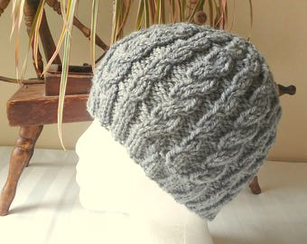 Ready to Ship. Medium Gray Cable Hat. Winter Hat. Wool/Acrylic Yarn. Hand Knit Hat. Boyfriend Gift. Beanies for Men. Beanies for Women.