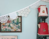 Lace Doily Garland Wall Decor for Weddings, Bridal Showers, Tea Parties, Vintage Crochet and Tatted Doilies, Bunting, Banner